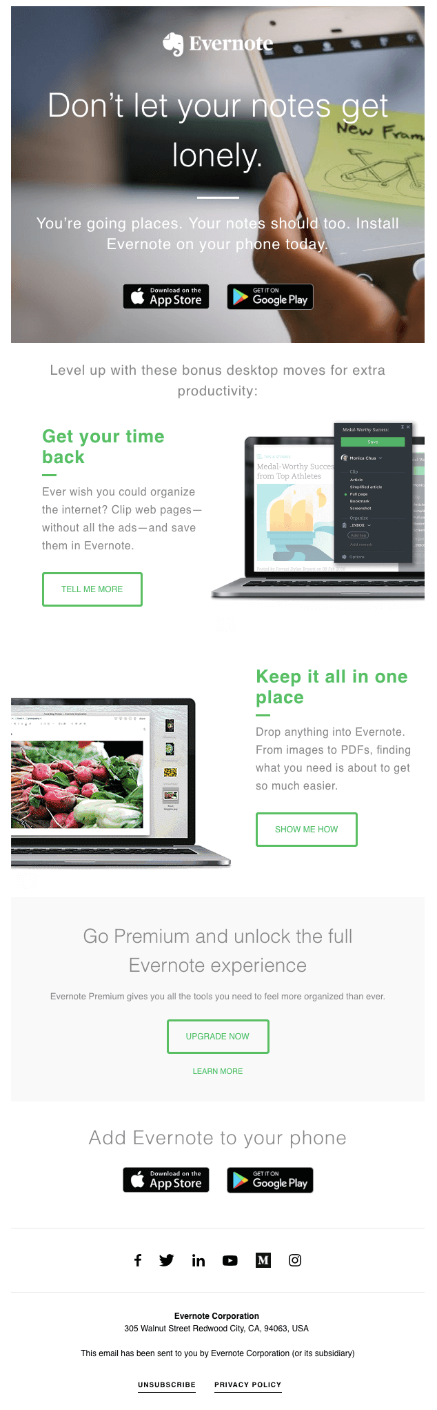 Evernote sample welcome email